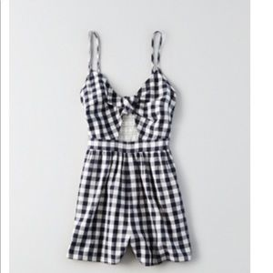 Like New American Eagle Romper Small Navy Gingham